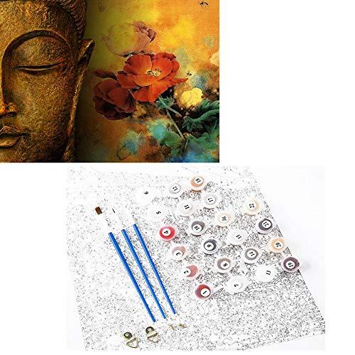 Neue Malen Digitale Malen Nach Zahlen Für Erwachsene Panels Leinwand Buddha Kopf Rose Digitale Malerei 3D DIY Wandbild -