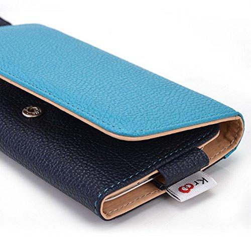 Kroo Housse de transport Dragonne Étui portefeuille pour Blackberry Z3/Z30/passeport noir bleu