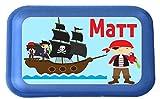 wolga-kreativ Brotdose Lunchbox mit Name Pirat und Wunschmotiv mit Trennsteg viele Motive