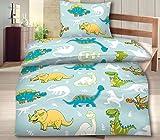 Aminata Kids - Bettwäsche Kinder 100x135 Dinosaurier Dino Jungen Mikrofaser-Kinderbettwäsche Kleinkinder Drache blau Babybettwäsche Kinderbett-Baby -