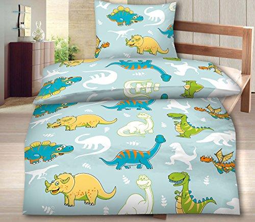 Aminata Kids Süße Bettwäsche Kinder 135x200 Biber Dinosaurier Dino
