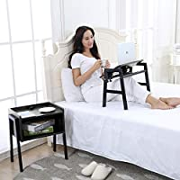 Emall Life Multifunctional Bedside table, 2-in-1 Side Table with Open Shelf and Angle Adjustable Laptop Table with 3 Ports USB Charger for Sofa/Bed (Black Willow)