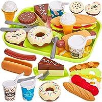 HERSITY Comida Cocinitas Juguete Alimentos Desmontables Hamburguesas Helados Pastel Plastico de Juguete con Bandeja Juegos de rol Regalos para Niños Niñas 3 4 5 Años