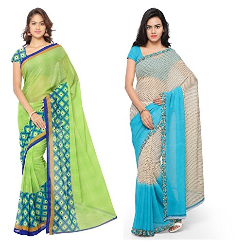 Anand Sarees Women's Faux Georgette Multi Color Printed Pack Of 2 Saree...