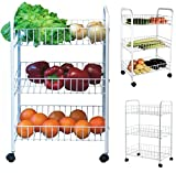 HOME CUBE® 3 Tier Vegetable Fruit Rack Wheels White Storage Trolley Stand Shelf