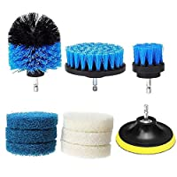 Vaorwne 10Pcs/Set Power Scrubber Brush Drill Brush Cleaning Bathroom Surfaces Cleaning Tool Tub Shower Tile Grout Cordless Scrub Cleaner