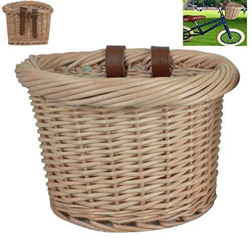 Gereton Front Fahrradkorb für Lenker Outdoor Auto Korb Ökologie Hand-woven Korb Vintage Wicker Fahrradkorb mit braunen Lederriemen