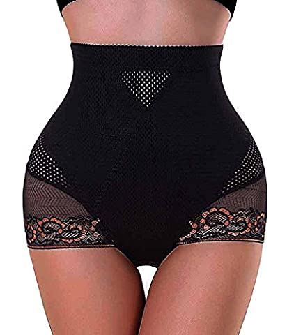 Antibacterial Mesh Pants Butt Lifter Shapers Panties Hi-Waist Thigh Slimming (X-Large, Black)