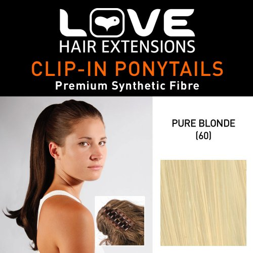 Love Hair Extensions - LHE/N/INDIA/CC/60 - Prime de Fibres India - Pince Crocodile - Queue de Cheval - Couleur 60 - Blond Pur