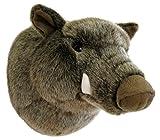 Wagner 8024 - Plüschtrophäe Wildschweinkopf klein - lebensecht - Plüschtier Trophäe Wildschwein Plüsch