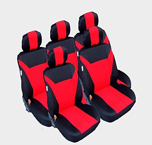 5x Sitze Sitzbezüge Schonbezüge Schonbezug Schwarz-rot