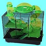 Nagerkäfig Hamsterkäfig Mäusekäfig Käfig viele Röhren, Haus, Laufrad Rocky grün