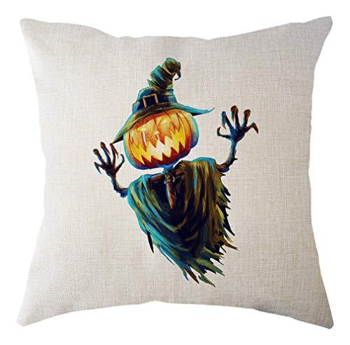 Gedruckt Leinen Kissenbezug Sofa Dekokissen Abdeckung Happy Halloween Scary Kürbis Geist Muster Auto Dekorative Kissenbezug ()