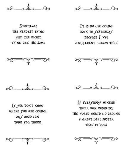 Gabrielle 's Choice Alice in Wonderland Kunstdruck Zitat-Vier 8x 10Kunstdruck gerahmt Set