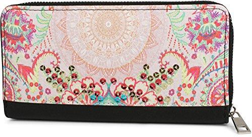 62f6cf26c8 styleBREAKER portafogli con motivo etnico fiori e paillettes, design  vintage, chiusura con cerniera,