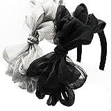 Miya® 2 stück hochwerige Mädchen Haarband, elegante Haarreif mit süße doppel Schleife, Haarschmuck Rockabilly Stirnband Haarschmuck, kariert schwarz