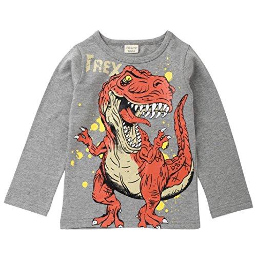JiaMeng Beb¨¦ Nino Impresi¨®n Camiseta Estampada de Dinosaurio de Dibujos Animados Tops Camisas Camiseta(Gris,6T)