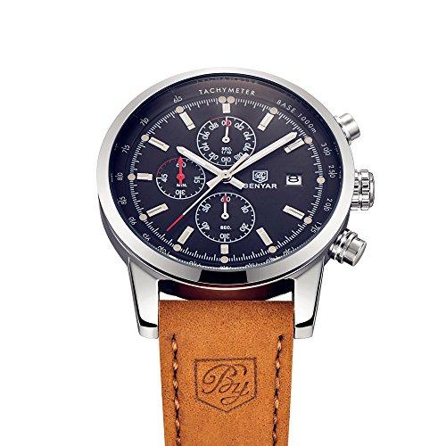 Benyar moda uomo al quarzo cronografo impermeabile orologi business casual sport design leather - Orologi da polso design ...