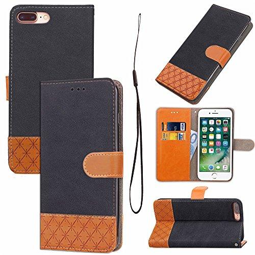 Mixed Colours Retro Premium PU Ledertasche 360 ° Schutz Wallet Stand Cover Case mit Lanyard & Card Slots für iPhone 7 Plus ( Color : Rose ) Black