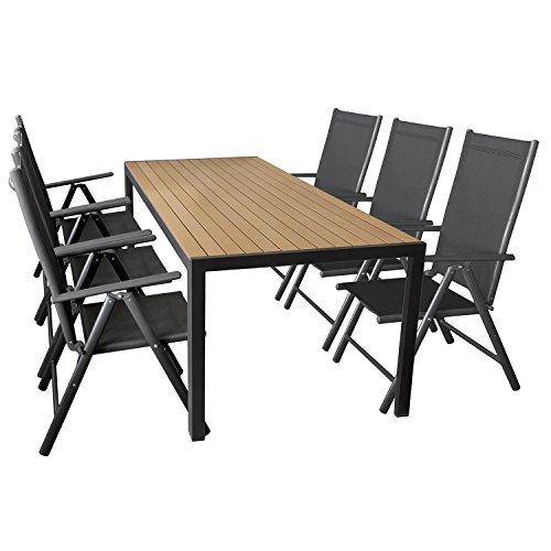 Wohaga 7er Set Gartenmöbel Aluminium Gartentisch mit Polywood Tischplatte 205x90cm + 6X klappbare Hochlehner mit 2×2 Textilengewebe, Rückenlehne 7-Fach verstellbar