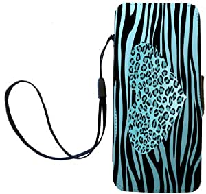 Rikki Knight Sky Blue Leopard Heart on zebra background Flip Wallet iPhoneCase with Magnetic Flap for iPhone 5/5s