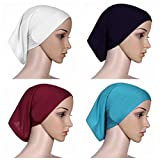 Ksweet 4 pièce Sport Hijab Bonnets Femme Musulman Écharpe Islamic Turban Foulard Cyclisme (Multicolore-07)
