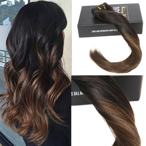 Sunny 7pcs/120g due toni clip in extension capelli veri 22pollice/55cm ombre nero al marrone capelli umani full head clip in extensions
