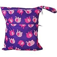 2-Zip lavable bolsa de pañales diseño de elefantes