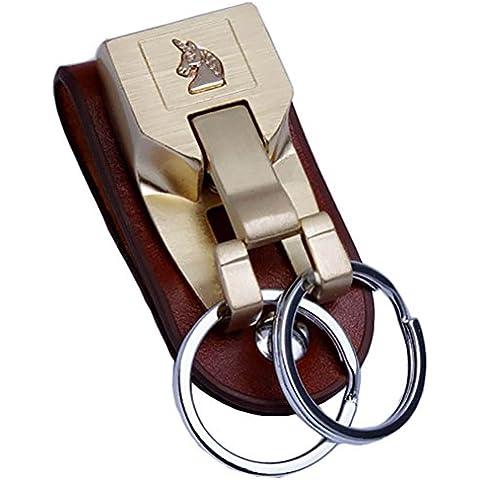 Clave Anillos Para Hombre, Cinturón De Cuero De Acero Inoxidable liangery weared Keychains con especial Doble Anillos Para Hombre Mujer, W-Gold