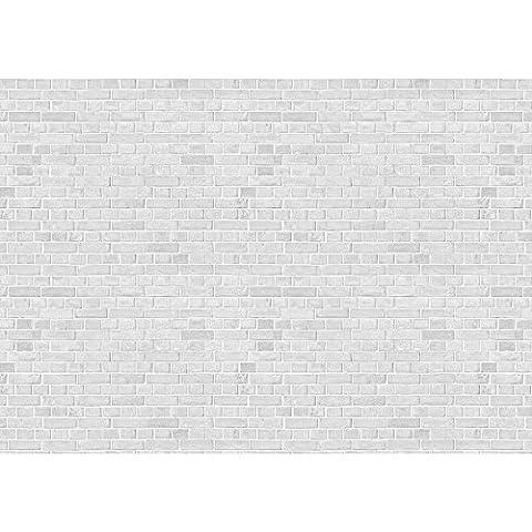 Vlies Fototapete PREMIUM PLUS Wand Foto Tapete Wand Bild Vliestapete - WHITE BRICK STONE WALL - Steinwand Steintapete Ziegelwand Ziegel weiß Mauer Ziegelmauer - no. 137, Größe:200x140cm