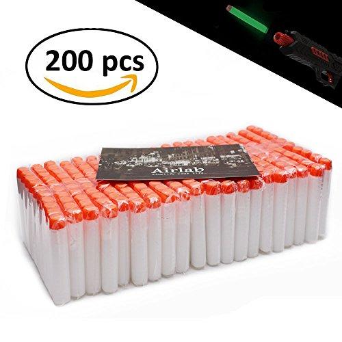 Leuchten im Dunkeln für Nerf, 200er Glow-in-The-Dark Refill Bullets Zubehör für Nerf Nachfüll-Pack Spielzeug für draußen und Familie, Weiß ()