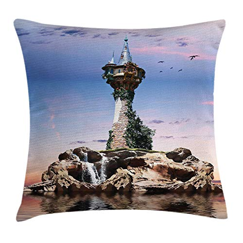 Fantasy Throw Pillow Cushion Cover, Fictional Wizards Tower Sitting on Rock Island Home of Magician Supernatural Theme, Decorative Square Accent Pillow Case, 18 X 18 inches, Blue ()
