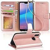 Arae Huawei P20 Lite Hülle, Handyhülle P20 Lite Tasche Leder Flip Cover Brieftasche Etui Schutzhülle für Huawei P20 Lite - Roségold