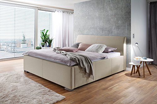 lifestyle4living Bett, Doppelbett, Polsterbett, Bettgestell, Ehebett, Liegefläche 180x200 cm, beige, Webstoff, Metallfüße Edelstahloptik