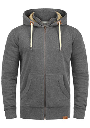 Herren Sweatjacke Kapuzen-Jacke Zip-Hoodie mit Teddy-Futter aus Hochwertiger Baumwollmischung, Größe:XL, Farbe:Gre M P (P8236) ()