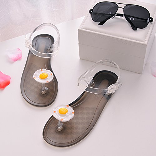 Xing Lin Sandales Pour Dames Crocs Sandales Tongs Chaussons DÉté Télévision Citron Tous Les Étudiants-Match Egg transparent bottom
