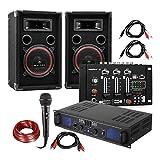 Electronic-Star Set DJ e PA DJ-14 USB • Amplificatore PA • Console di Mixaggio USB • Coppia di Altoparlanti • Microfono Karaoke • Set di Cavi di Connessione