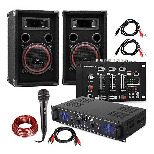 Electronic-Star Set DJ e PA DJ-14 USB - Amplificatore PA, Console di Mixaggio USB, Coppia di Altoparlanti, Microfono Karaoke, Set di Cavi di Connessione