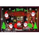 Fenverk FröHliche Weihnachten Haushalt Zimmer Wand Aufkleber WandgemäLde Dekor Abziehbild Entfernbar DIY Weihnachtsmann Claus Baum Fenster Zuhause Dekoration Schneemann Rentier 70 * 50CM(B)
