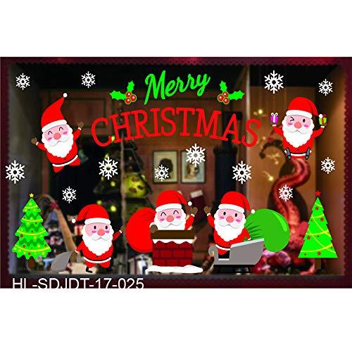 eihnachten Haushalt Zimmer Wand Aufkleber WandgemäLde Dekor Abziehbild Entfernbar DIY Weihnachtsmann Claus Baum Fenster Zuhause Dekoration Schneemann Rentier 70 * 50CM(B) ()