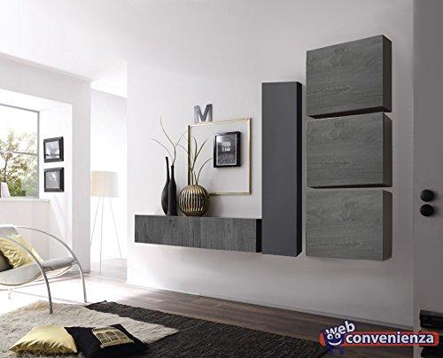 Cube 23 a rovere grigio e grigio scuro opaco parete attrezzata soggiorno moderna
