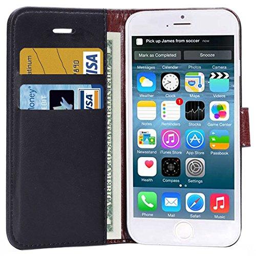 """wortek Flip Case Apple iPhone 6 Tasche (4,7"""") Etui Fächer für Karten, Magnetverschluss & Standfunktion Schwarz Schwarz"""