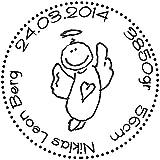 Stempel Individueller Geburtsstempel rund SCHUTZ-ENGEL - Namensstempel personalisiert Name Datum...