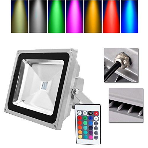 Preisvergleich Produktbild VINGO® LED RGB 50W Fluter Außen Scheinwerfer Wasserdicht Objektbeleuchtung mit Fembedienung