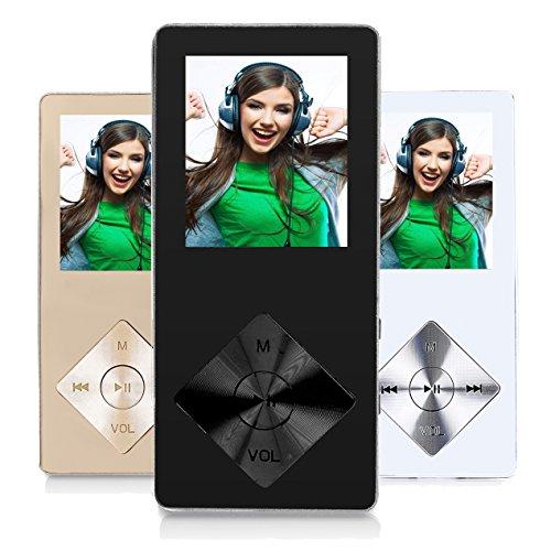 Peficecy Metall MP3-Player, 8GB Hi-Fi Sound 30 Stunden Playback Musik-Player, Eingebaute Lautsprecher, Support Expandable bis zu 32 GB (P08-schwarz)
