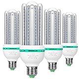 SAMDA E27 LED Lampen 12Watt ersetzt 100W Halogenlampen, 6000K Kaltweiß LED Birnen, 360 ° Abstrahlwinkel LED Leuchtmittel, Energiesparlampe, Nicht Dimmbar LED Mais Glühlampen 4-Stück