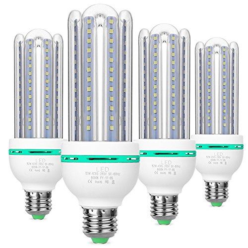 Samda lampadine led e27,12w lampada equivalenti a 100 watt, luce bianca 6000k lampadina, 1080 lumen, angolo di diffusione di 360°, non dimmerabile lampade de led, ac 85-265v, confezione da 4