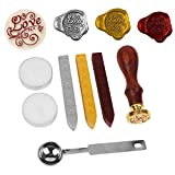 Retro Vintage Wax Sealing Stamps, NetBoat Antique Wax Seal Stamp Kit Set with Gold Red Silver Wax Wick Sticks (LOVE)