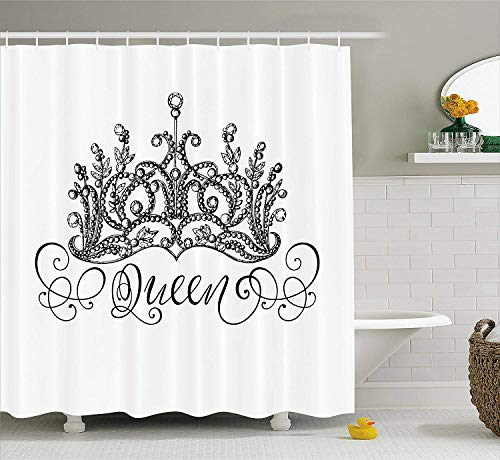ruichangshichengjie Queen Shower Curtain, Hand Drawn Crown with Queen Lettering Baroque Style Ancient Elements Calligraphy, Bathroom Decor Set with Hooks, 60 x 72 Inches, Black and White