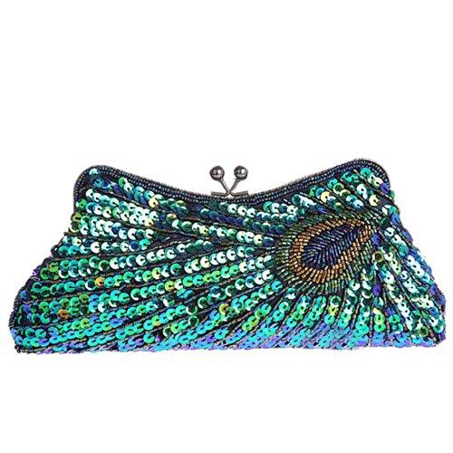 Luxus Glitzer Damen Clutch Abendtasche Tasche mit Pfau Motiv Brauttasche Handtasche Pailletten Hochzeit Party viele Farben Grün